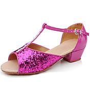 Zapatos de Baile Latino / Zapatos de Salsa / Flamenco Lentejuelas / Sintético Tacones Alto Purpurina / Con Cordón / Pelo Tacón Bajo No