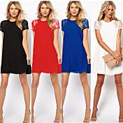 Vestidos ( Gasa )- Casual/Tela de Encaje Redondo Manga Corta para Mujer