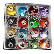 16 x multicolor lindo llaveros billar de simulación de metal anillo dominante