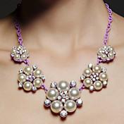 女性用 フラワー 形状 ラインストーン 人造真珠 合金 パーティー 記念日 コスチュームジュエリー