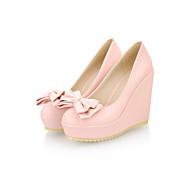 女性用 靴 レザーレット 春 夏 ウエッジヒール リボン のために オフィス&キャリア ドレスシューズ ブラック ベージュ ブルー ピンク