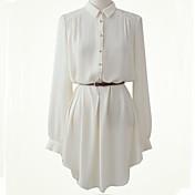 婦人向け カジュアル/普段着 夏 ブラウス,シンプル シャツカラー ソリッド ホワイト / ブラック リネン 長袖 薄手