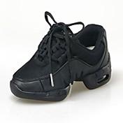 Mujer Hombre Niños Zapatillas de Baile Tejido Tela Plano Entrenamiento Principiante Profesional Interior Cordones Tacón Plano Negro Menos