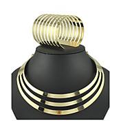 Juego de Joyas Gemelo Vintage Fiesta Joyería Destacada Moda Europeo Chapado en Oro Legierung Forma de Círculo Pulsera Collar