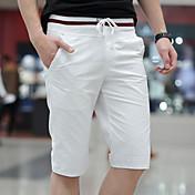 メンズ シンプル ミッドライズ 伸縮性なし ストレート スリム ショーツ チノパン パンツ ソリッド ストライプ