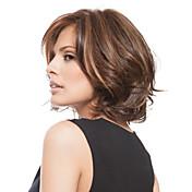 Mujer Pelucas sintéticas Corto Ondulado Marrón Pelo reflectante/balayage Parte lateral Corte Bob Corte a capas Con flequillo Peluca