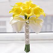 ウェディングブーケ ラウンド型 バラ ユリ ブーケ 結婚式 ポリエステル サテン ビーズ フォーム 8.27inch(約21cm)