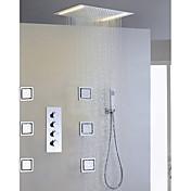 コンテンポラリー レインシャワー 組み合わせ式 ハンドシャワーは含まれている LED with  セラミックバルブ 四ハンドル5つの穴 for  クロム , シャワー水栓
