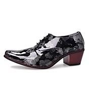 Hombre Zapatos Cuero real Primavera Otoño Innovador Oxfords Combinación Para Casual Negro y Oro Negro y Plateado Negro/Rojo Negro / azul