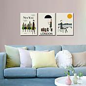 visual londres decoración del arte del cartel de impresión star®wall / nueva york / paris decoración de dibujos animados conjunto lienzo