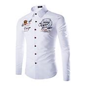 MEN カジュアルシャツ ( コットンブレンド ) ボディコン/カジュアル/プリント ワイシャツカラー - 長袖