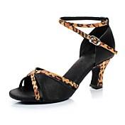 Mujer Zapatos de Baile Latino / Zapatos de Salsa Satén Sandalia Hebilla Tacón Personalizado Personalizables Zapatos de baile Marrón /