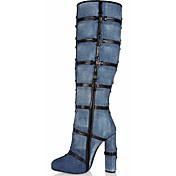 Mujer-Tacón Stiletto-Botas a la ModaOficina y Trabajo / Vestido / Fiesta y Noche-Semicuero-Azul