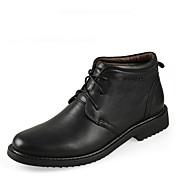 Hombre Zapatos Cuero Primavera Verano Otoño Invierno Confort Botas Mitad de Gemelo Con Cordón Para Casual Negro Marrón