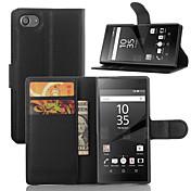 elegante pu leahter tegnebog hylster tilfældet Cover til Sony Xperia Z5 kompakte (assorterede farver)