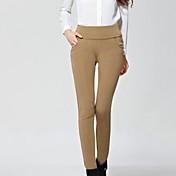 Mujer Microelástico Ajustado Vaqueros Pantalones,Un Color Poliéster Licra Otoño