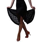 Baile Latino Pantalones y Faldas Vestidos y faldas Faldas Mujer Representación Entrenamiento Fibra de Leche Encaje 1 Pieza Cintura Media