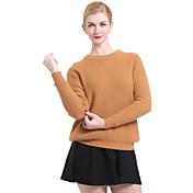 Mujer Pullover Casual/Diario Simple,Un Color Escote Redondo Manga Larga Primavera Otoño