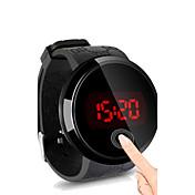 男性用 リストウォッチ デジタル タッチスクリーン 耐水 LED シリコーン バンド ブラック