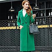 婦人向け 冬 ソリッド コート レッド / ブラック / グリーン ポリエステル 長袖 厚手