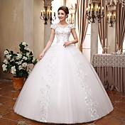 Salón Cuello en V Hasta el Suelo Encaje Satén Tul Vestido de novia con Cristal Lentejuela por QQC Bridal