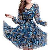 Mujer Corte Swing Vestido Noche Tallas Grandes Sofisticado,Floral Estampado Escote en Pico Sobre la rodilla Manga Larga Otoño Tiro Medio