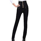 pantalones negros sólidos de los vaqueros de la cintura alta de la manera de las mujeres, botón ocasional / del trabajo