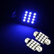 2 x 12 SMD LED azules adorno de la bóveda interior de 36 mm de la luz de bulbo