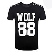男性用 プリント カジュアル Tシャツ,半袖 コットン / スパンデックス,ブラック / ホワイト / グレー