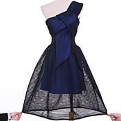 婦人向け カジュアル シース ドレス,ソリッド 膝上 ワンショルダー コットン / ポリエステル