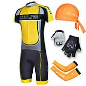 cheji® Hombre Manga Corta Maillot de Ciclismo con Shorts - Negro Bicicleta Shorts/Malla corta Camiseta/Maillot Sets de Prendas,