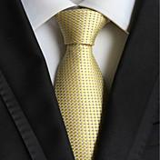 Corbata tejida jacquar comprobada oro claro de la luz de la moda de los hombres