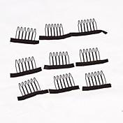 clips para las tapas de la peluca de la peluca peluca accesorios 20pcs toma peines de color negro peluca acorta peines
