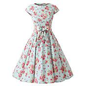 女性のキャップスリーブミントの花花柄のドレス、ヴィンテージキャップは50年代ロカビリースイングドレススリーブ