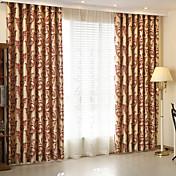 Corredizo Anillo Lazo de tela Doble plisado Solo plisado Dos Paneles Ventana Tratamiento Modern , Jacquard Sala de niños Poliéster