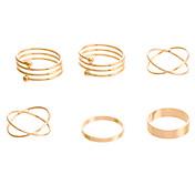 Anillos Fiesta / Diario / Casual Joyas Legierung Mujer Collar / anillo 1 Set,7 Dorado