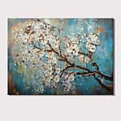 手描きの 抽象画 花柄/植物の 横式,近代の 1枚 キャンバス ハング塗装油絵 For ホームデコレーション