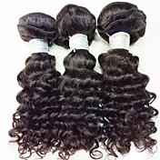 3 Piezas Negro # T1B 30 Rizado Cabello Brasileño Cabello humano teje Extensiones de cabello 0.15kg
