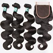 Cabello Brasileño Trama del pelo con cierre Ondulado Grande Extensiones de cabello 4 Piezas Negro