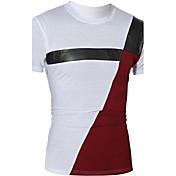 Camiseta De los hombres Retazos-Casual-Algodón / Poliéster-Manga Corta-Blanco / Gris