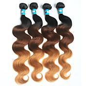 Cabello humano Cabello Brasileño Ombre Ondulado Grande Extensiones de cabello 4 Piezas 1b / 4/27