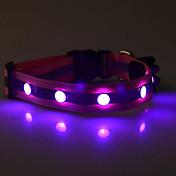 犬 カラー LEDライト 反射 ナイロン パープル イエロー レッド グリーン ブルー