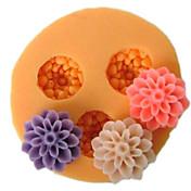 ケーキの3つの細胞小花シリコーン型フォンダン金型シュガークラフトツール樹脂の花金型金型