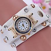 Mujer Reloj de Vestir Reloj de Moda Reloj Pulsera Simulado Diamante Reloj Cuarzo La imitación de diamante Piel Banda Cosecha Negro Blanco
