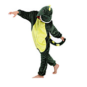 Pijama kigurumi Dinosaurio Pijama Mono Pijamas Disfraz Franela Vellón Verde Cosplay por Niño Ropa de Noche de los Animales Dibujos