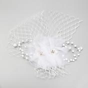 Mulheres Menina das Flores Penas Imitação de Pérola Rede Capacete-Casamento Ocasião Especial Fascinador 1 Peça