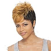女性 人工毛ウィッグ キャップレス ショート丈 カーリー ブロンド ピクシーカット バング付き カーニバルウィッグ コスプレ用ウィッグ 衣装ウィッグ ハロウィンウィッグ コスチュームウィッグ