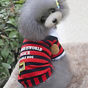 犬 Tシャツ 犬用ウェア カジュアル/普段着 ファッション ストラップ柄 レッド ブルー コスチューム ペット用