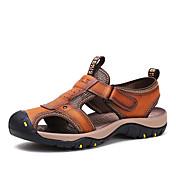 Hombre Zapatos Cuero Verano Banda Para Deportivo Casual Marrón Caqui