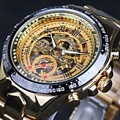 WINNER Hombre Reloj Esqueleto Reloj de Pulsera El reloj mecánico Cuerda Automática Resistente al Agua Huecograbado Taquímetro Luminoso